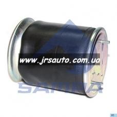 Пневмоподушка 4022NP03 со стаканом 2 шп.M12смещ.25. 1отв.штуц.M22. Н: 1отв. M16 SAF Метал.