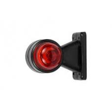 Фонарь габаритный 45° бело/красный (рога) лампа 130мм
