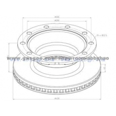 Диск торм 430x168.5x290x45 n10x22.5 задний вентилир Schmitz ROTOS