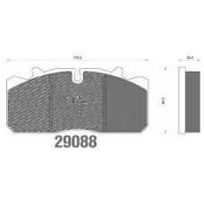 Колодки дисковые 29088 c пластинами 176x86x26 RVI DAF IVECO MAN VOLVO FM